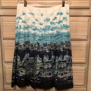 Cotton, pleated print skirt , size 6